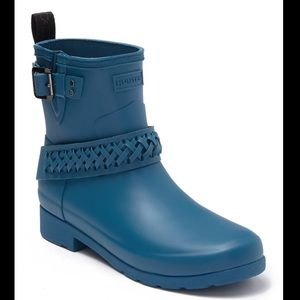 ✨NEW Hunter Waterproof Braided Biker Boot Blue